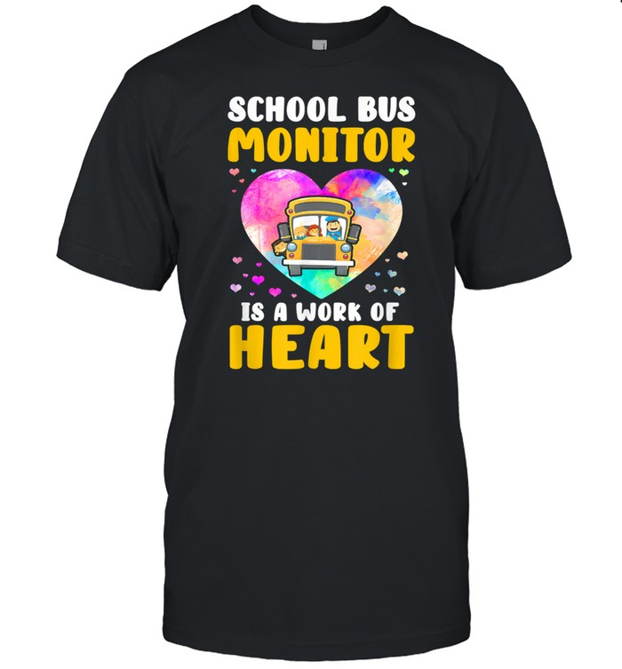 School Bus Monitor It's A Work Of Heart Watercolor Shirt