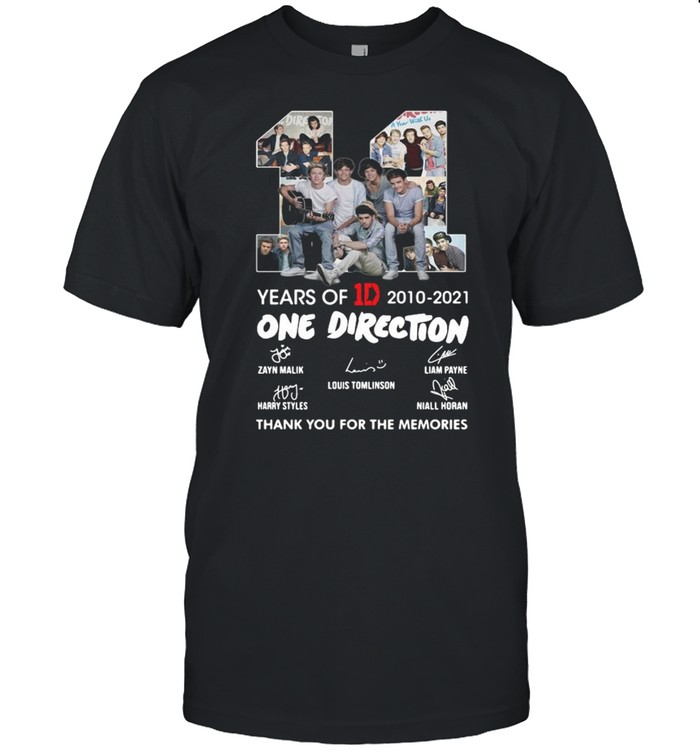 11 Years Of 1D 2010-2021 One Direction Thank You For The Memories Signatures Shirt