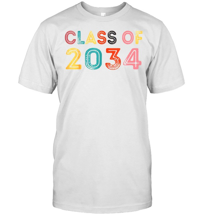 First Day Of School Graduation Class Of 2034 Grow With Me Shirt