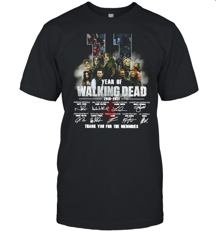 11 Years Of The Walking Dead 2018-2021 Thank You For The Memories Signatures Shirt
