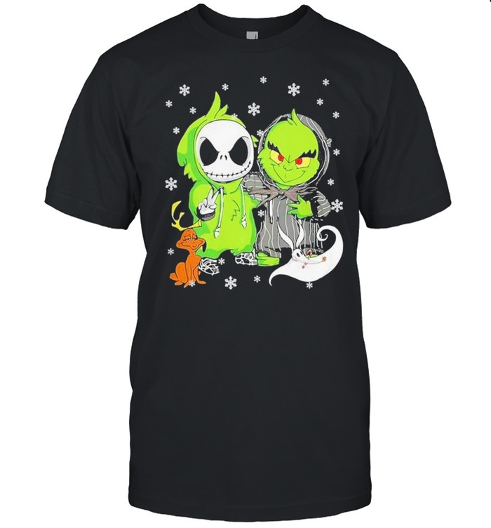 Baby Jack Skellington And Baby Grinch Happy Christmas Shirt
