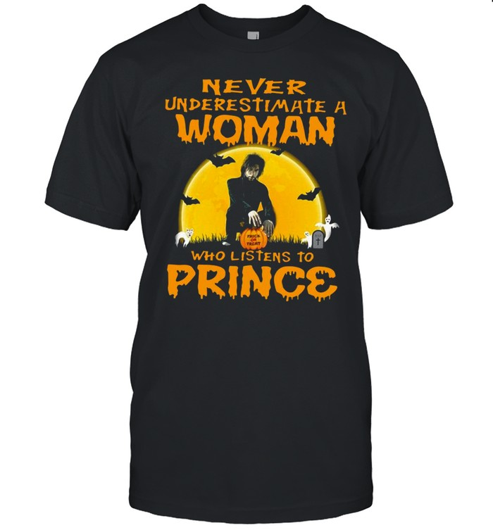 Never Underestimate A Woman Who Listens To Prince Halloween Shirt