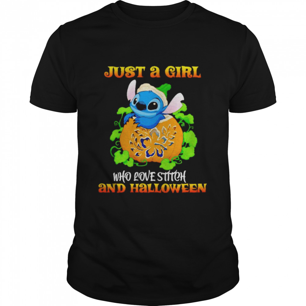 Just A Girl Who Love Stitch And Halloween Shirt