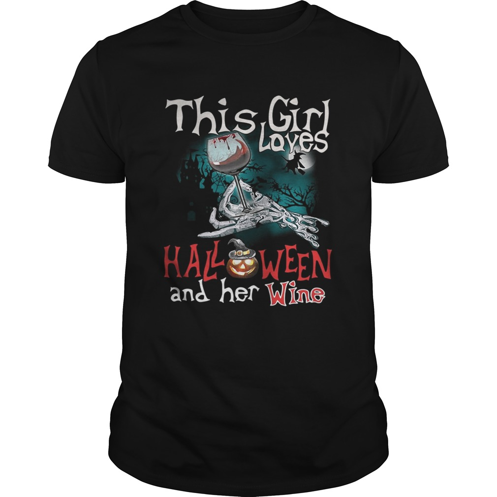 This Girl Loves Halloween And Her Wine Shirt
